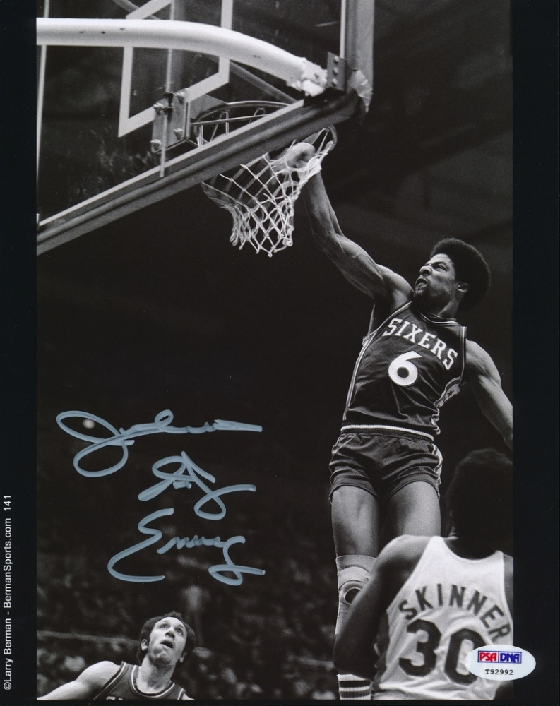 Julius Erving Signed 76ers 8x10 Photo Inscribed  quot Dr  J quot   PSA COA  at    Julius Erving 76ers