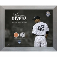 Mariano Rivera 11x14 Framed Piece with Game-Used Jersey & Yankee Stadium Dirt (Steiner COA) at PristineAuction.com