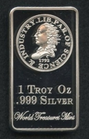 1 Troy Ounce .999 Silver Clad Liberty Eagle Half Dime Commemorative First Strike Bullion Bar at PristineAuction.com