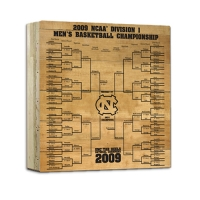 North Carolina Actual Game-Used Court Piece with Engraved 2009 Tournament Bracket (Steiner COA) at PristineAuction.com