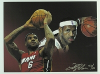 Lebron James Limited Edition Heat 12x16 Lithograph # 02/10 (PA LOA) at PristineAuction.com