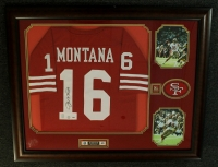 Joe Montana Signed 49ers 36x45 Custom Framed Jersey (Montana Hologram & PSA LOA) at PristineAuction.com
