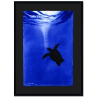 "Wyland Signed Custom Framed ""Turtle"" Original 15"" x 23"" Watercolor Painting 1/1 at PristineAuction.com"