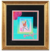 "Peter Max Signed ""Tip Toe Floating"" Custom Framed 10"" x 13"" Original Acrylic Mixed Media Painting 1/1 (Framed to 19.5"" x 22"") at PristineAuction.com"