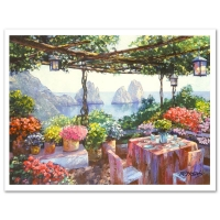 "Howard Behrens Signed ""Table for Two - Capri"" Limited Edition 27"" x 20"" Hand Embellished Giclee at PristineAuction.com"