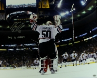 "Corey Crawford Signed Blackhawks Stanley Cup 16x20 Photo Inscribed ""2013 SC Champs"" (Schwartz COA) at PristineAuction.com"