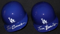 Lot of (2) Tommy Lasorda Signed Dodgers Mini-Helmets (PSA COA) at PristineAuction.com