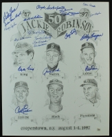 Dodgers 16x20 Lithograph Signed By (20) with Jim Labine, Carl Erskine, Johnny Podres, Clyde Sukeforth, Bobby Bragan (AR COA) at PristineAuction.com