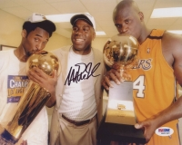 Magic Johnson Signed Lakers 8x10 Photo with Kobe Bryant & Shaquille O'Neal (PSA COA) at PristineAuction.com