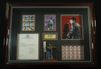 Elvis Presley Signed MGM Inc Contract In Custom 24x32 Shadow Box With Unused Concert Ticket & Unused Stamps (PSA LOA) at PristineAuction.com