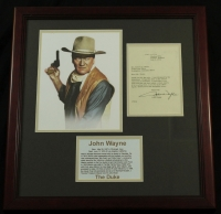 John Wayne Signed 20x21 Custom Framed Letter (PSA LOA) at PristineAuction.com