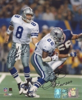 Emmitt Smith & Troy Aikman Signed & Inscribed Cowboys 8x10 Photo (Player Holograms) at PristineAuction.com