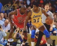 Magic Johnson Signed Lakers 8x10 Photo vs. Michael Jordan (PSA COA) at PristineAuction.com