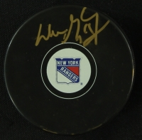 Wayne Gretzky Signed Rangers Logo Hockey Puck (JSA COA) at PristineAuction.com