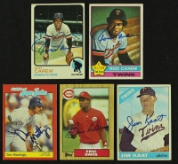 Lot of (5) Signed Baseball Cards with (2) Rod Carew, Jim Kaat, Don Mattingly, Eric Davis (JSA COA) at PristineAuction.com