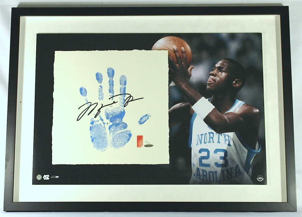 Michael 'Air' Jordan: hands of a basketball superstar! Main_1-Michael-Jordan-Signed-UNC-Limited-Edition-Tegata-Lithograph-with-Hand-Print-18-123-UDA-COA-PristineAuction.com