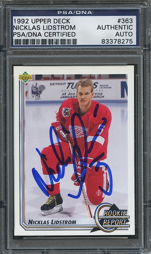 Nicklas Lidstrom Signed Red Wings 1992 Upper Deck #363 Hockey Card ...