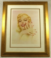 """Alberto Vargas Signed 30x35 Custom Framed """"Marilyn"""" Lithograph (PSA COA) at PristineAuction.com"""