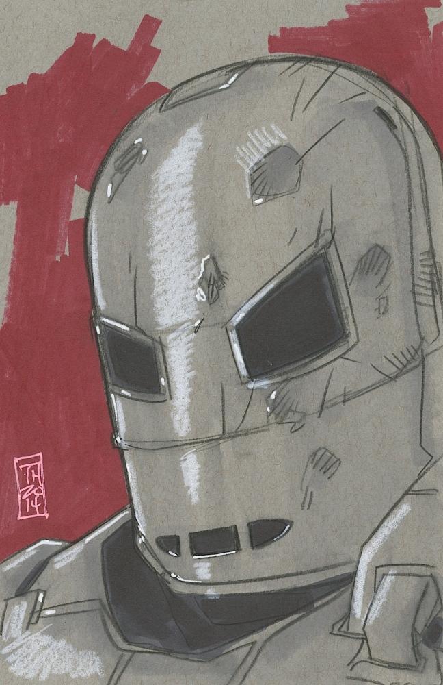 "Tom Hodges Signed ""Iron Man Mark I"" ORIGINAL Color Drawing ..."
