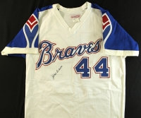 Hank Aaron Signed Braves Authentic Mitchell & Ness Throwback Jersey (JSA ALOA) at PristineAuction.com