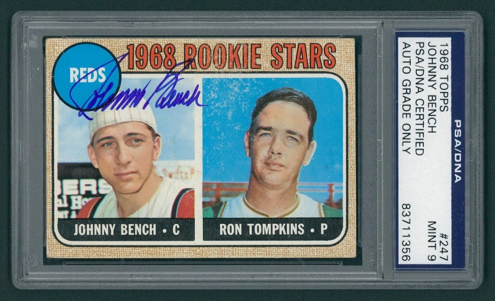 Johnny Bench Signed 1968 Topps 247 Rookie Card Psa 9 At Pristine Auction
