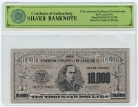 Silver Limited Edition US $10,000 Banknote Bill at PristineAuction.com
