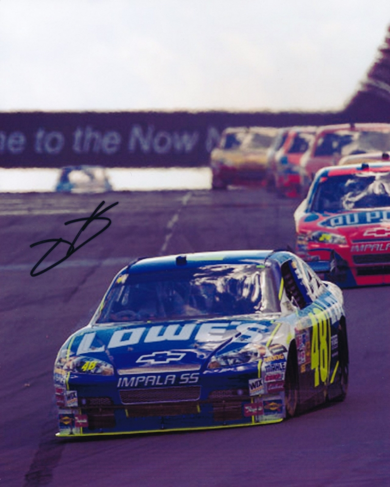 jimmie johnson signed nascar 8x10 photo pa loa at pristine auction. Black Bedroom Furniture Sets. Home Design Ideas
