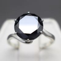 3.80 Carat Genuine Natural Black Diamond Sterling Silver Ring - Size 7 (GJLI COA) at PristineAuction.com
