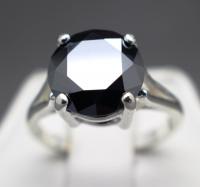 3.91 Carat Genuine Natural Black Diamond Sterling Silver Ring - Size 7 (GJLI COA) at PristineAuction.com