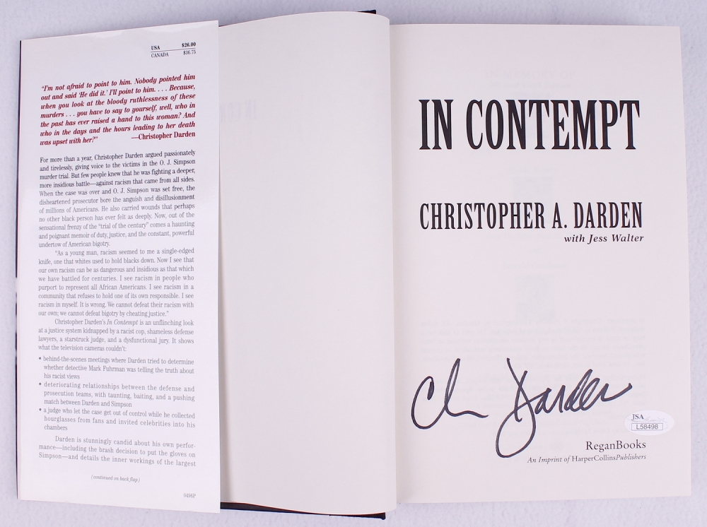 a review of in contempt a book by christopher darden In contempt by christopher darden: a review this report is based upon the book in contempt, written by christopher a darden with jess walter this book is published by regan books an imprint of.