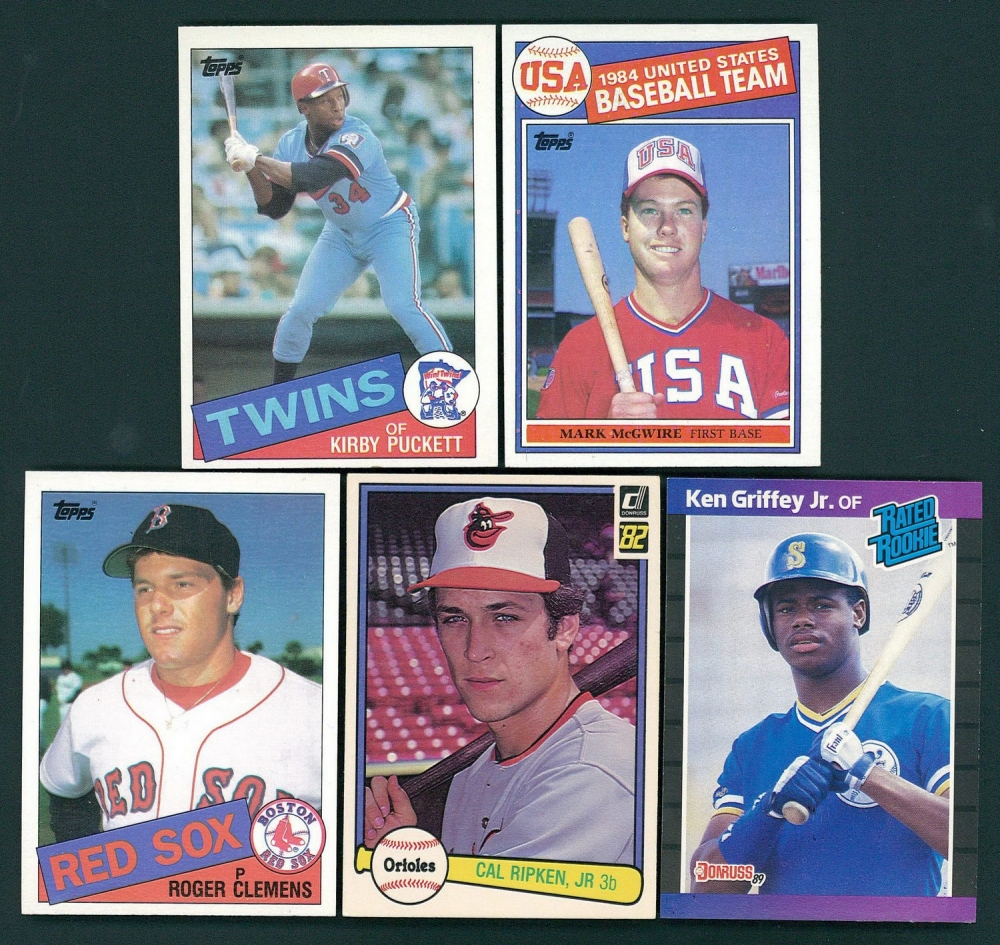 Lot Of (5) Rookie Baseball Cards With Ken Griffey Jr. 1989