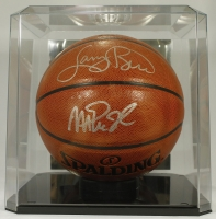 Larry Bird & Magic Johnson Signed Basketball with Display Case (PSA COA) at PristineAuction.com