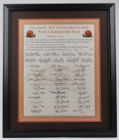 1964 Cleveland Browns 22x26 Custom Framed Roster Signed by (42) with Jim Brown, Leroy Kelly, Ed Bettridge (JSA ALOA) at PristineAuction.com