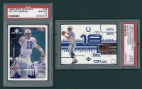 Lot of (2) Peyton Manning 1999 Upper Deck Football Cards with MVP #79 Peyton Manning & PowerDeck Auxiliary #AUX7 Peyton Manning (PSA 10) at PristineAuction.com