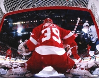 """Dominik Hasek Signed Red Wings 16x20 Photo Inscribed """"HOF '14"""" (Schwartz COA) at PristineAuction.com"""