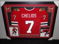 "Chris Chelios Signed Blackhawks 35x43 Custom Framed Jersey Inscribed ""HOF 2013"" (PSA COA) at PristineAuction.com"
