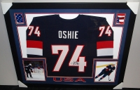 TJ Oshie Signed Team USA 35x43 Custom Framed Jersey (JSA COA) at PristineAuction.com