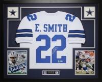 "Emmitt Smith Signed Cowboys 35"" x 43"" Custom Framed Jersey Inscribed ""HOF 91"" (PSA COA & GTSM) at PristineAuction.com"