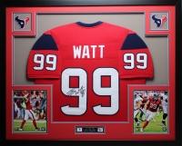 """JJ Watt Signed Texans 35"""" x 43"""" Custom Framed Jersey (JSA COA) at PristineAuction.com"""