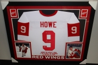 "Gordie Howe Signed Red Wings 35x43 Custom Framed Career Highlight Stat Jersey Inscribed ""Mr. Hockey"" (PSA COA) at PristineAuction.com"