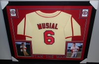 Stan Musial Signed Cardinals 35x43 Custom Framed Jersey (PSA COA) at PristineAuction.com