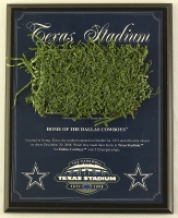 Dallas Cowboys Texas Stadium Final Season 8x10 Plaque with Game-Used Turf (Steiner COA) at PristineAuction.com