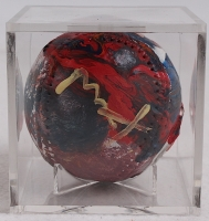 Peter Max Signed ORIGINAL Custom Hand-Painted Baseball with Display Case (Max Hologram) at PristineAuction.com