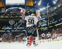 2013 Chicago Blackhawks Team Signed Stanley Cup 16x20 Photo Signed By (17) With Joel Quenneville, Corey Crawford, Marian Hossa, Patrick Sharp, Andrew Shaw (Schwartz COA) at PristineAuction.com