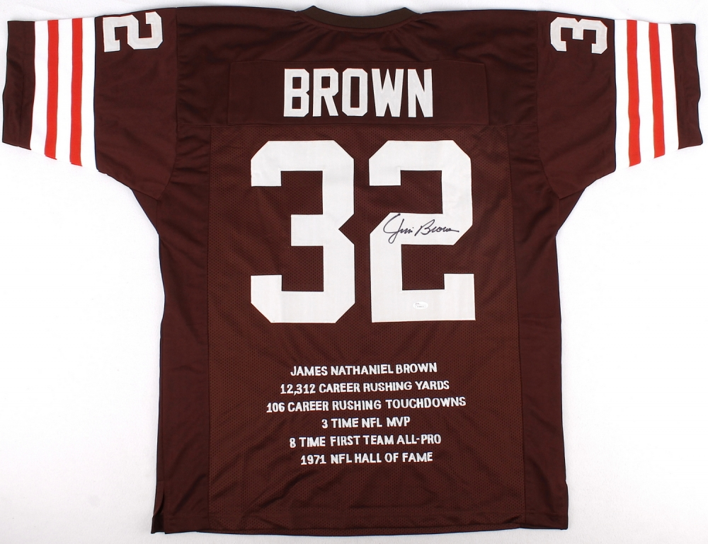 Jim brown signed browns career highlight stat jersey jsa at
