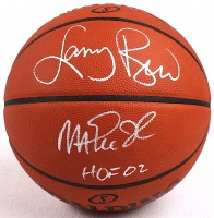 "Larry Bird & Magic Johnson Signed Official NBA Game Ball Inscribed ""HOF 02"" (Bird Hologram & PSA COA) at PristineAuction.com"