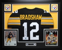 """Terry Bradshaw Signed Steelers 35"""" x 43"""" Custom Framed Jersey (GTSM COA) at PristineAuction.com"""