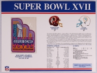 Super Bowl XVII Patch With 12x9 Scorecard: Redskins vs. Dolphins at PristineAuction.com