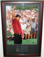 "Tiger Woods Signed 2001 Masters Custom Framed 20.5"" x 29.5"" Photo Display (UDA COA) at PristineAuction.com"