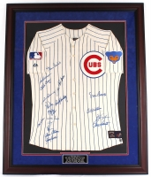 """1969 Chicago Cubs Team 36"""" x 40"""" Custom Framed Jersey Signed By (18) With Ernie Banks, Fergie Jenkins, Billy Williams, Ron Santos (Schwartz Hologram) at PristineAuction.com"""